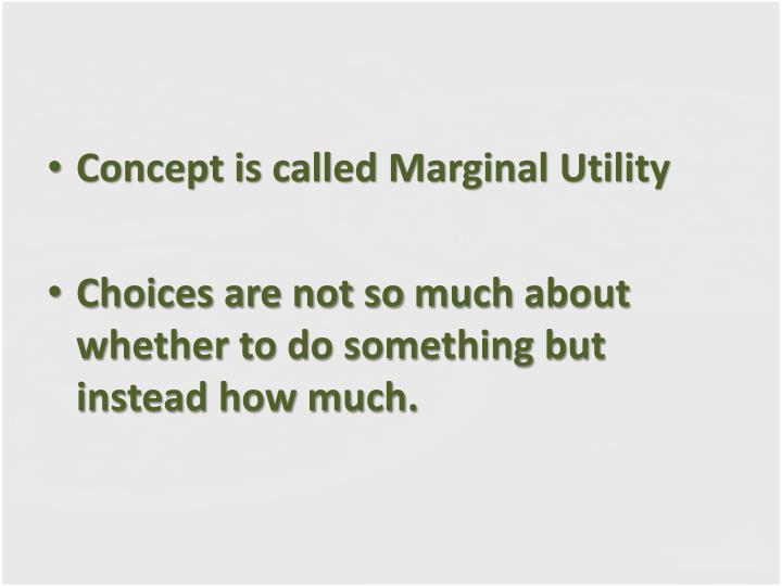 Concept is called Marginal Utility