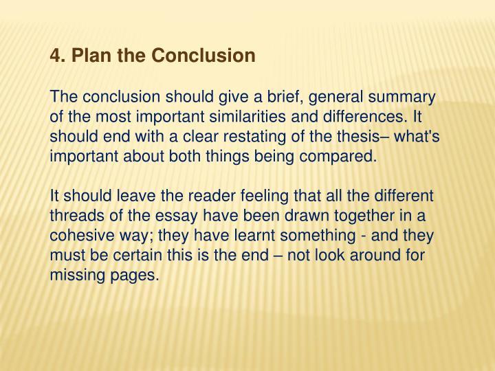 4. Plan the Conclusion