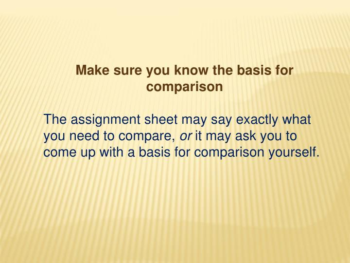 Make sure you know the basis for