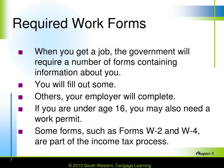 Required Work Forms