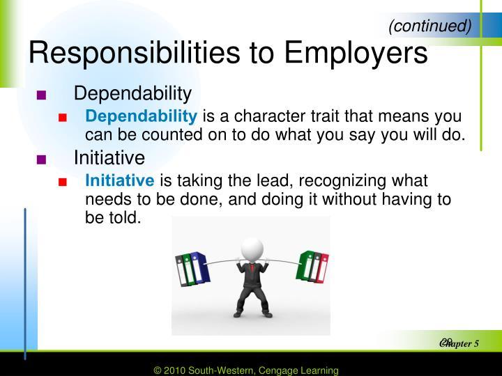 Responsibilities to Employers