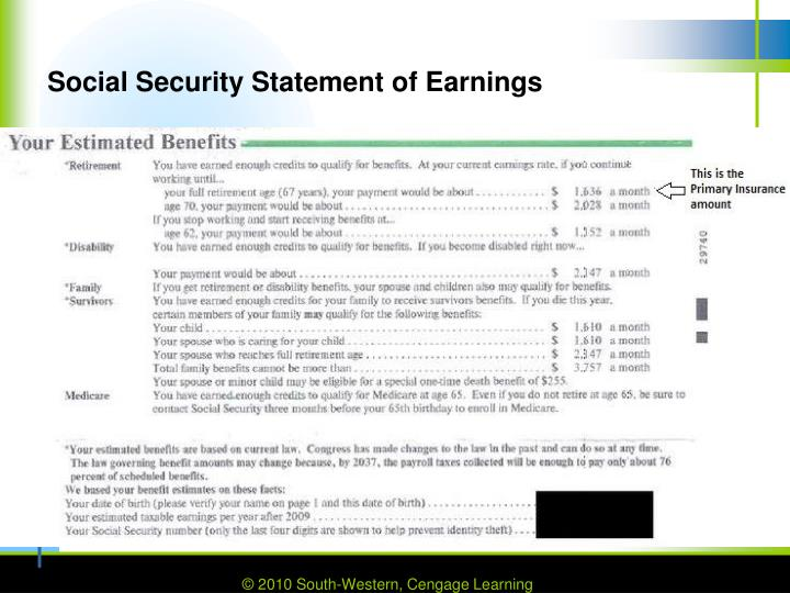 Social Security Statement of Earnings