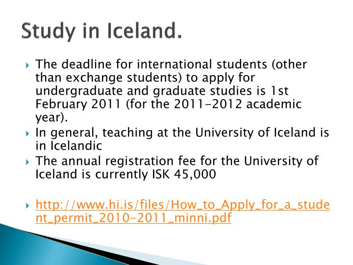 Study in Iceland.
