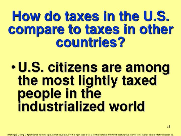 How do taxes in the U.S. compare to taxes in other countries?