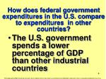 how does federal government expenditures in the u s compare to expenditures in other countries