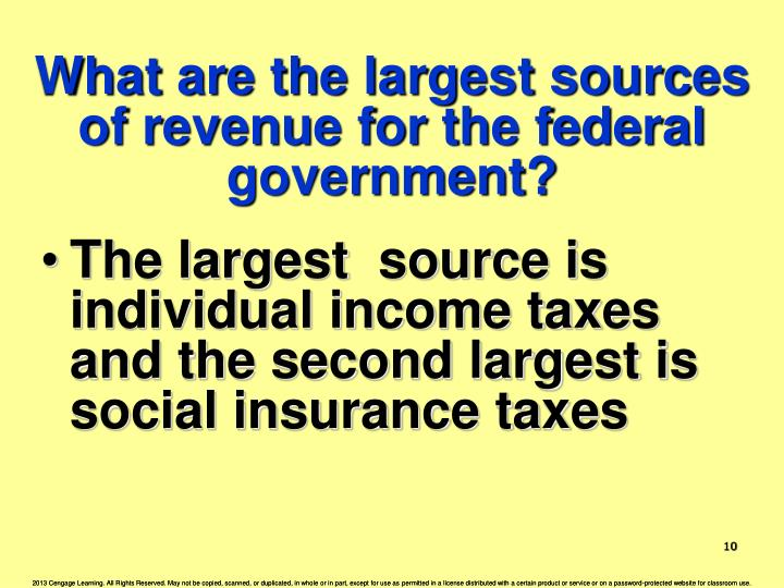 What are the largest sources of revenue for the federal government?