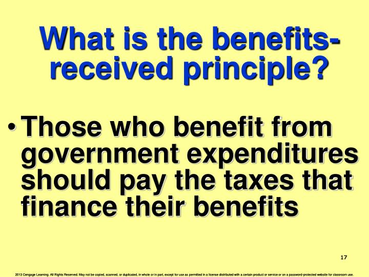 What is the benefits-received principle?