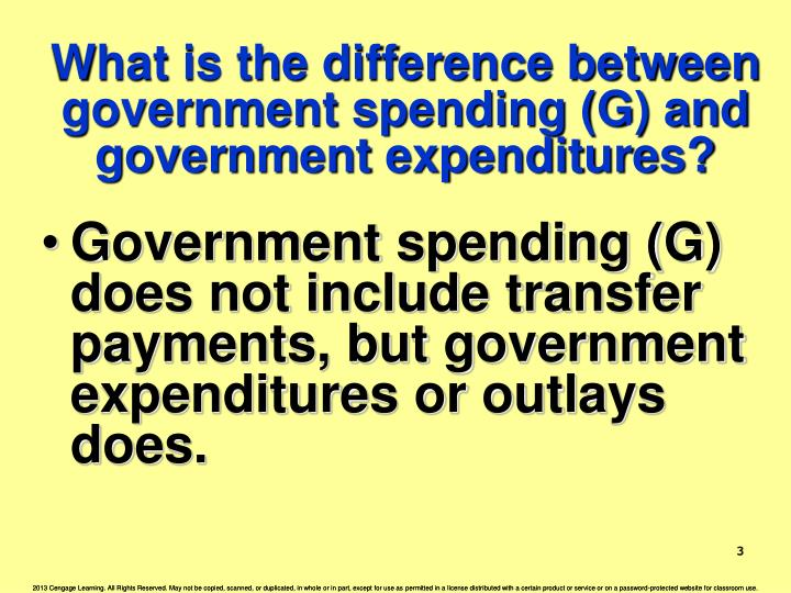 What is the difference between government spending (G) and government expenditures?