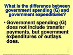 what is the difference between government spending g and government expenditures