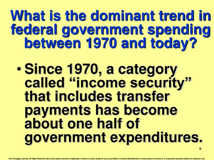 What is the dominant trend in federal government spending between 1970 and today?