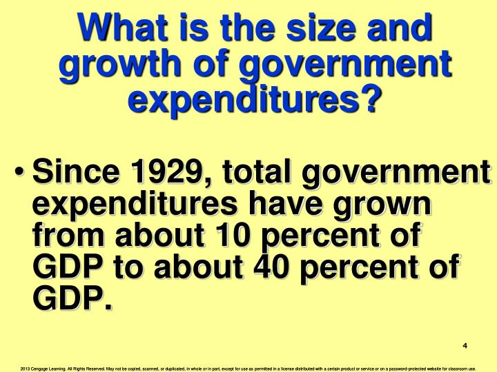 What is the size and growth of government expenditures?