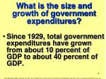 what is the size and growth of government expenditures