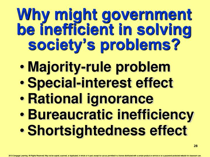 Why might government be inefficient in solving society's problems?