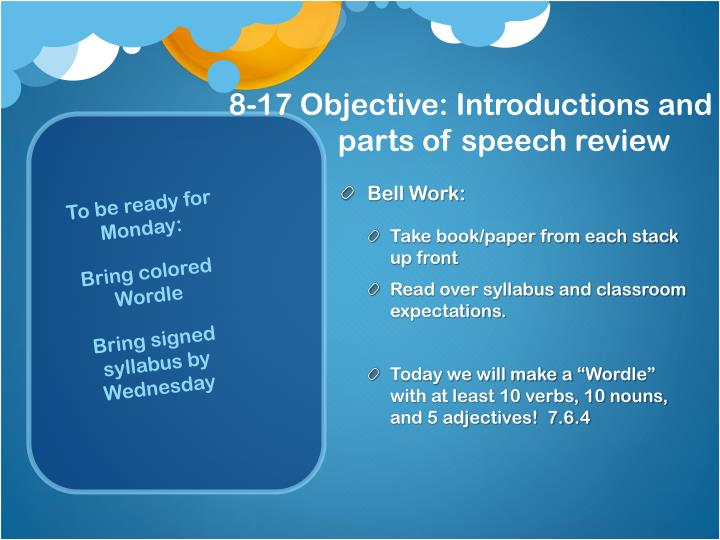 8 17 objective introductions and parts of speech review