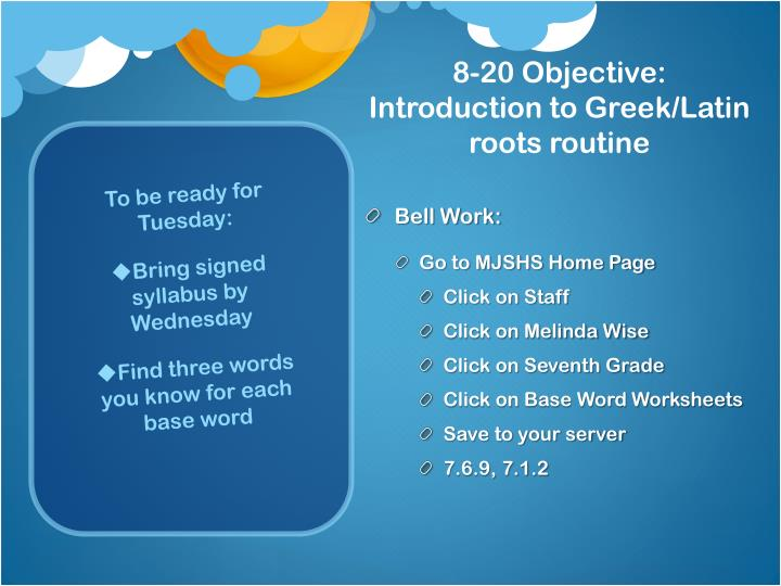 8 20 objective introduction to greek latin roots routine