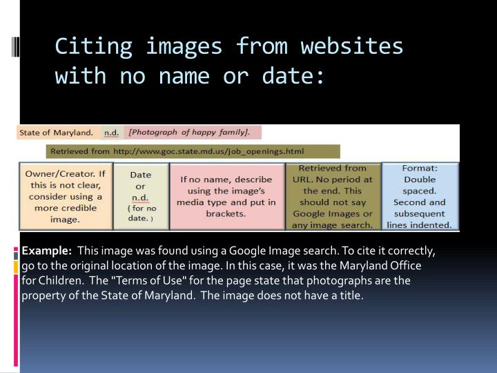 Citing images from websites with no name or date:
