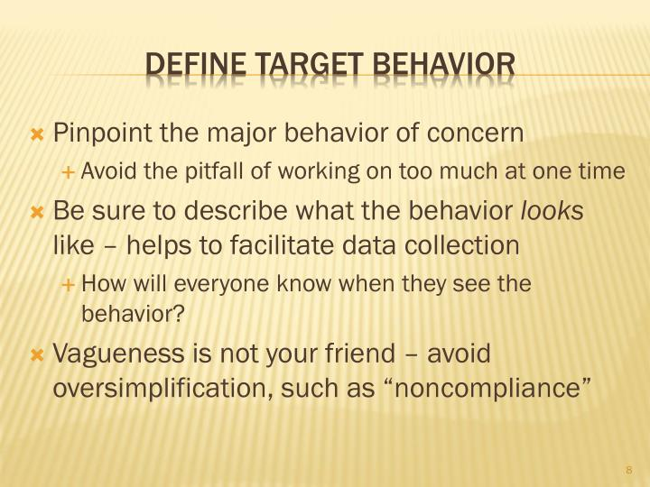 Pinpoint the major behavior of concern