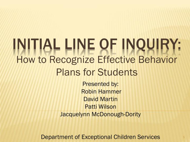 initial line of inquiry how to recognize effective behavior plans for students