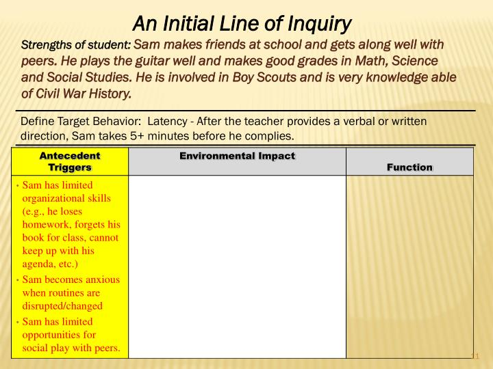 An Initial Line of Inquiry