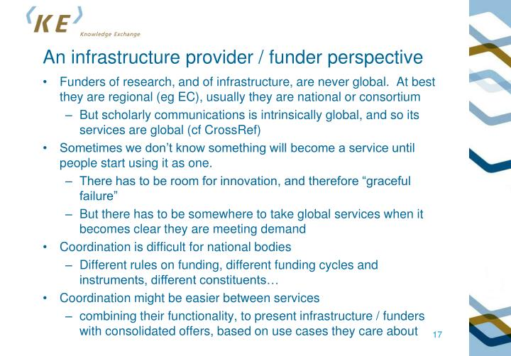 An infrastructure provider / funder perspective
