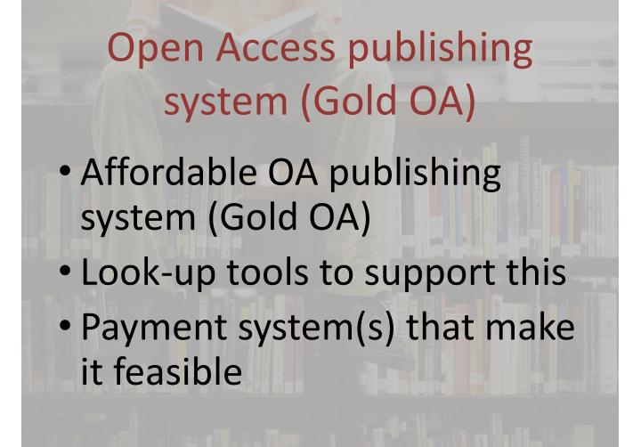 Open Access publishing system (Gold OA)