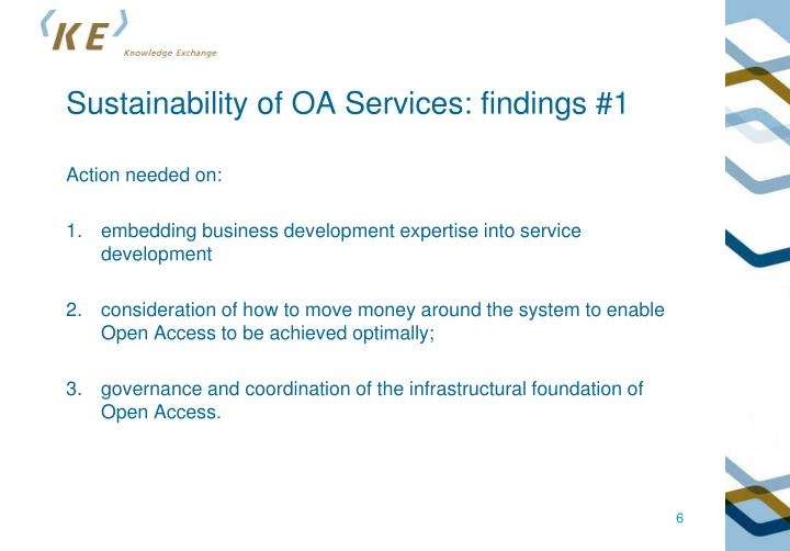 Sustainability of OA Services: findings #1