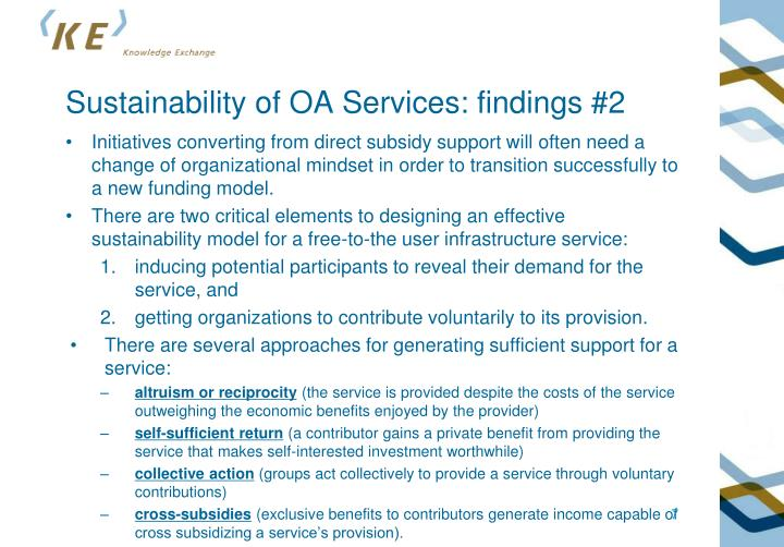 Sustainability of OA Services: findings