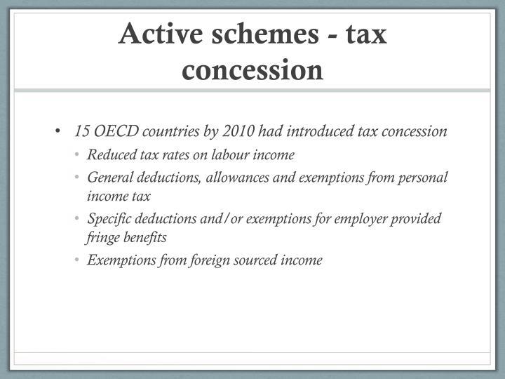 Active schemes - tax concession