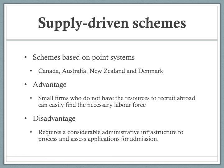 Supply-driven schemes