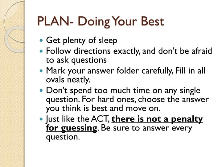 PLAN- Doing Your Best