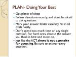 plan doing your best