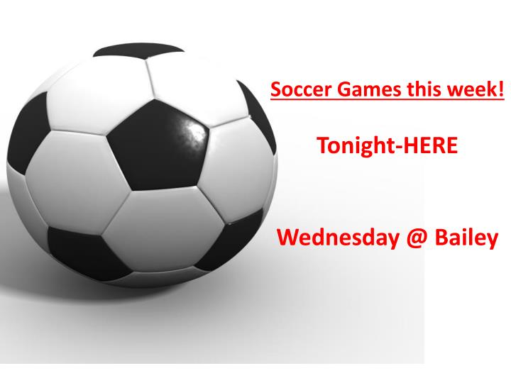 Soccer Games this week!