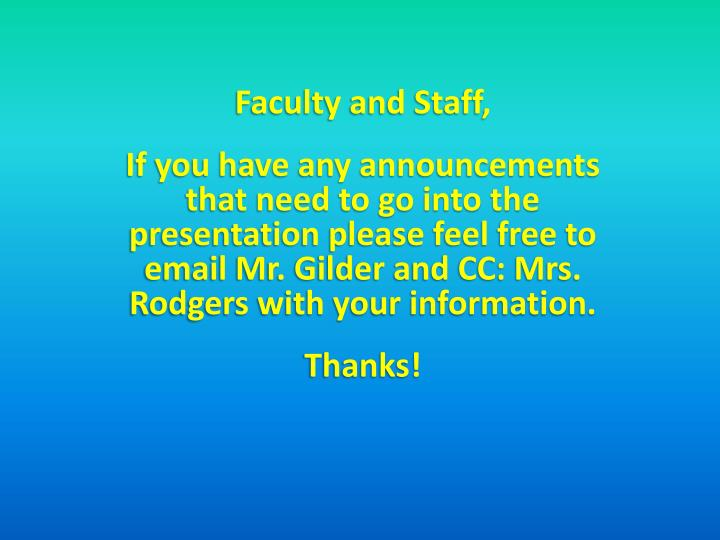 Faculty and Staff,