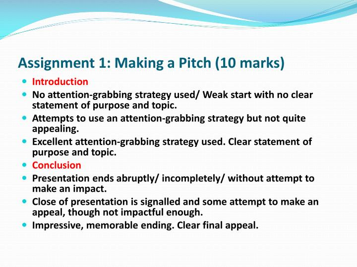 Assignment 1: Making a Pitch (