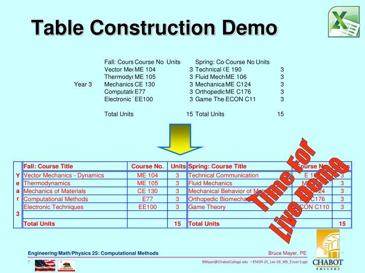 Table Construction Demo