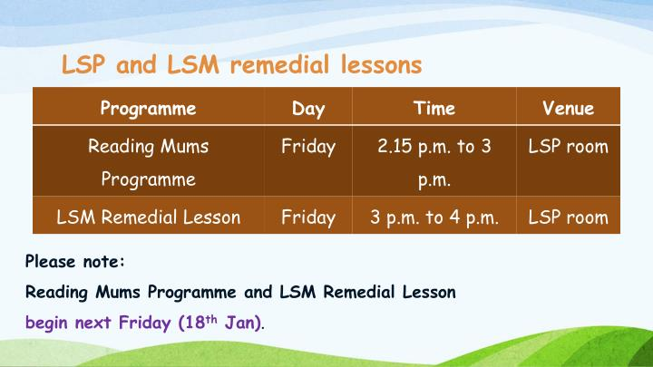 LSP and LSM remedial lessons