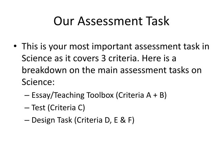 Our Assessment Task