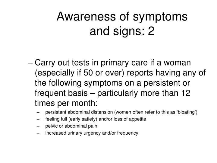 Awareness of symptoms