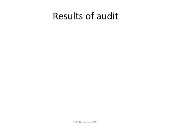 Results of audit