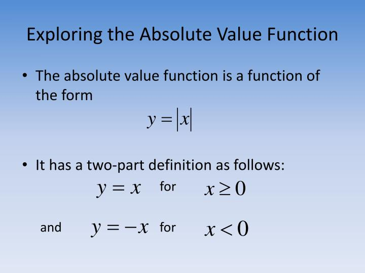The absolute value function is a function of the form