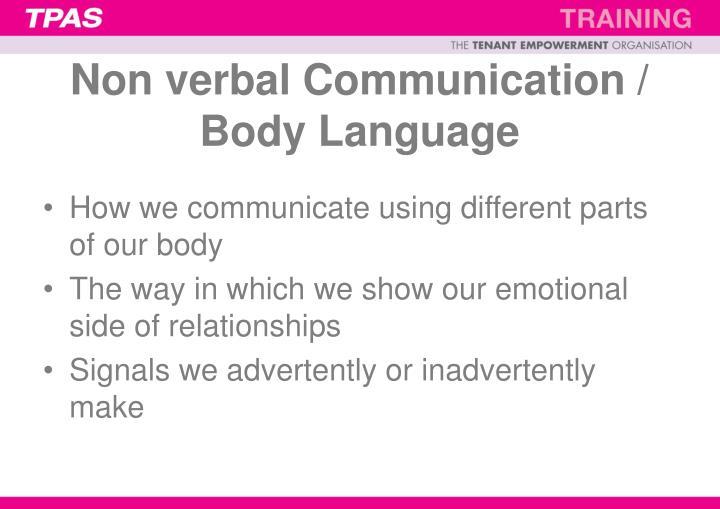 Non verbal Communication / Body Language