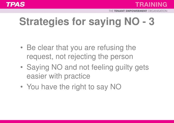 Strategies for saying NO - 3