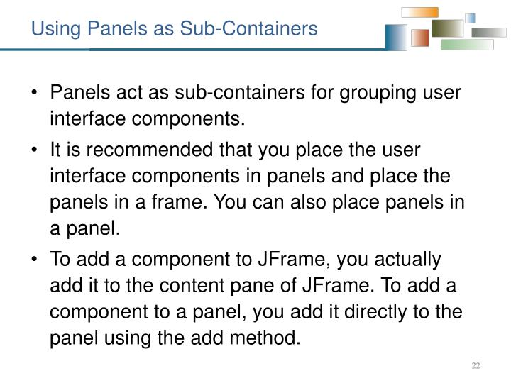 Using Panels as Sub-Containers
