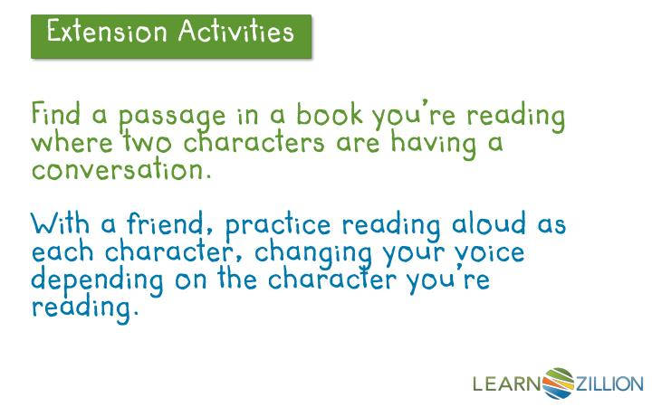 Find a passage in a book you're reading where two characters are having a conversation.