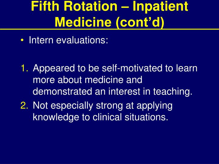 Fifth Rotation – Inpatient