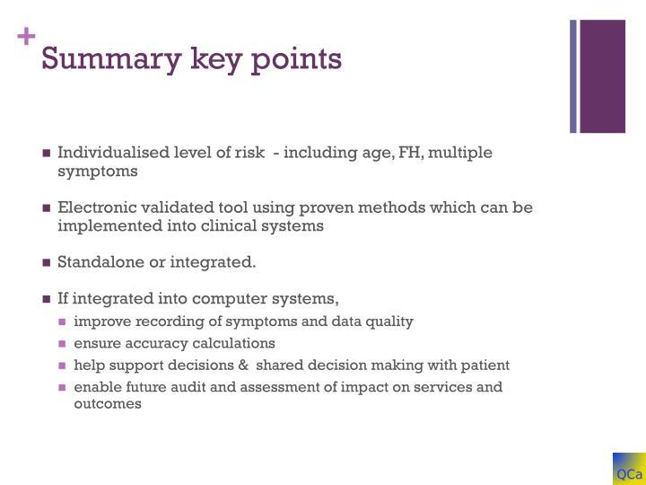 Summary key points