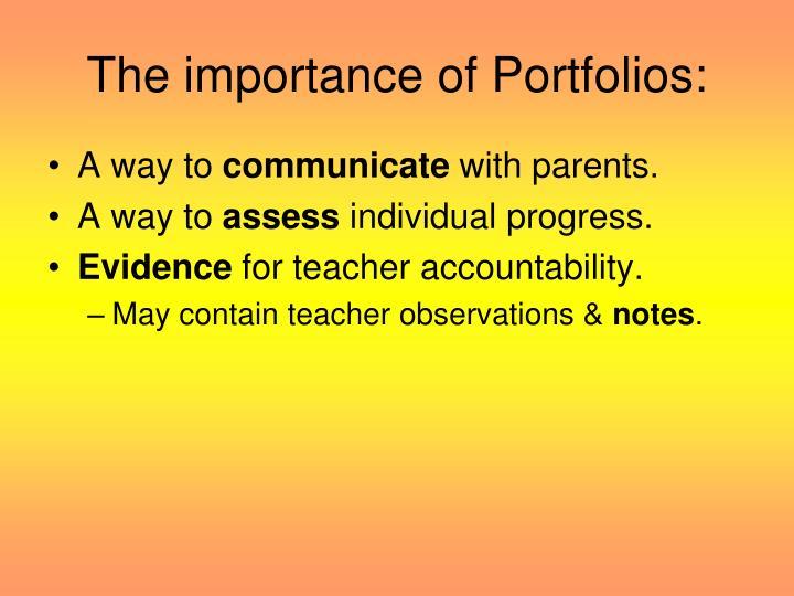 The importance of Portfolios: