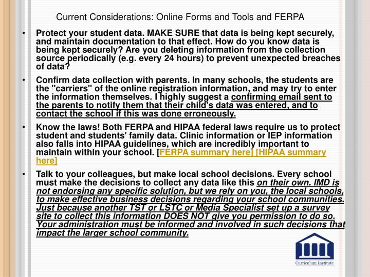 Current Considerations: Online Forms and Tools and FERPA