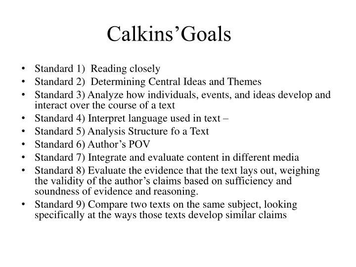 Calkins'Goals