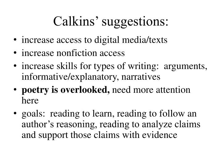 Calkins' suggestions: